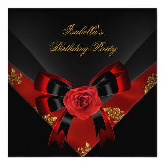 Asian Red Rose Black  Birthday Party 13 Cm X 13 Cm Square Invitation Card