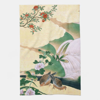 Asian Roses Dove Bird Waterfall Kitchen Towel