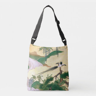 Asian Screen Wisteria Waterfall Bird Tote Bag