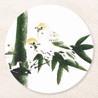 Asian Sparrow Birds Wildlife Bamboo Paper Coaster