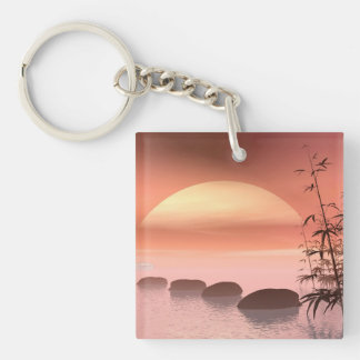 Asian steps to the sun - 3D render Key Ring