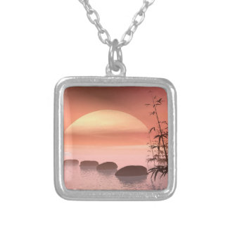 Asian steps to the sun - 3D render Silver Plated Necklace