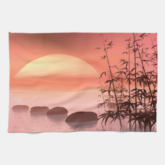 Asian steps to the sun - 3D render Tea Towel