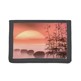 Asian steps to the sun - 3D render Tri-fold Wallets
