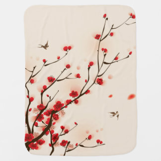Asian Style Painting, Plum Blossom in Spring Baby Blanket