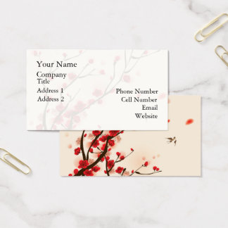 Asian Style Painting, Plum Blossom in Spring Business Card