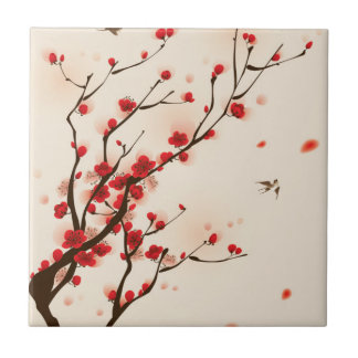 Asian Style Painting, Plum Blossom in Spring Ceramic Tile