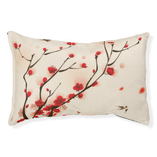 Asian Style Painting, Plum Blossom in Spring Pet Bed