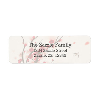 Asian Style Painting, Plum Blossom in Spring Return Address Label