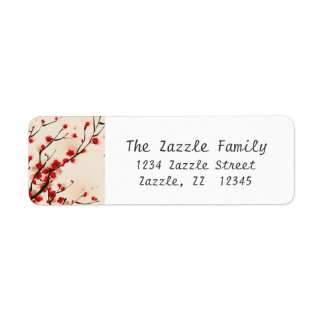 Asian Style Painting Plum Blossom in Spring Return Address Label