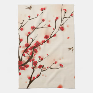 Asian Style Painting, Plum Blossom in Spring Tea Towel