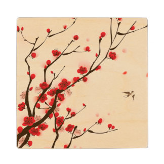 Asian Style Painting, Plum Blossom in Spring Wood Coaster