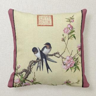 Asian Swallow Swift Birds Flowers Throw Pillow