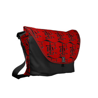 Asian symbol luck black red white courier bag