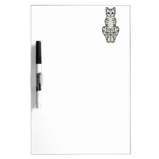 Asian Tabby Cat Cartoon Dry Erase Board