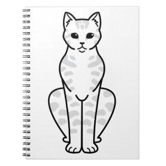 Asian Tabby Cat Cartoon Note Book