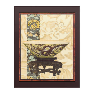 Asian Tapestry with Bowl and Dragon Design Acrylic Wall Art