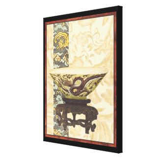 Asian Tapestry with Bowl and Dragon Design Canvas Print