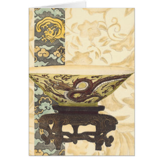 Asian Tapestry with Bowl and Dragon Design Card