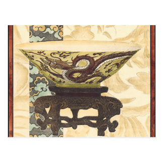 Asian Tapestry with Bowl and Dragon Design Postcard