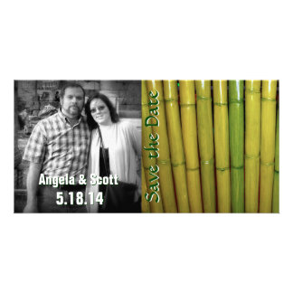 Asian Theme Bamboo Save the Date Custom Template Personalized Photo Card