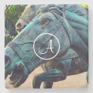 Asian turquoise horse statue photo custom monogram stone coaster
