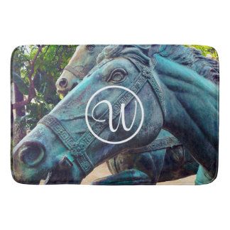 Asian turquoise metal horse statue custom monogram bath mat