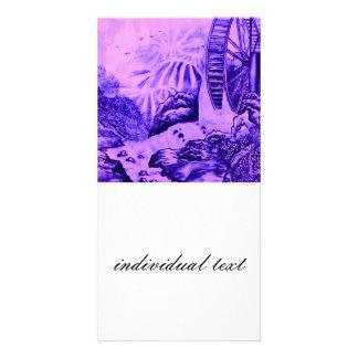 Asian Wallpaper pink blue Photo Card Template