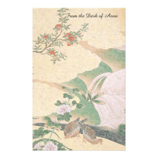 Asian Waterfall Rose Flowers Dove Birds Stationery