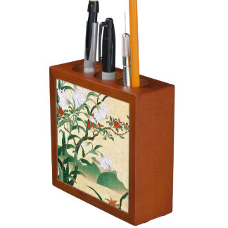 Asian White Lily Red Rose Flowers Desk Organizer