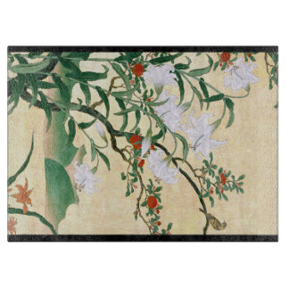 Asian White Lily Red Roses Flowers Cutting Board