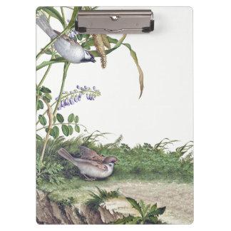 Asian Wisteria Flowers Meadow Birds Clipboard