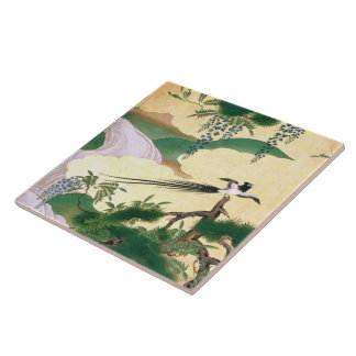 Asian Wisteria Flowers Waterfall River Bird Tile