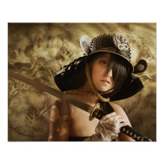Asian woman dressed as samurai poster