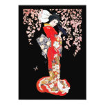Asian Woman with Cherry Blossom Night Personalized Invitations