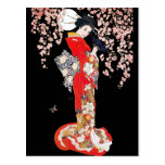 Asian Woman with Cherry Blossom Night Postcard