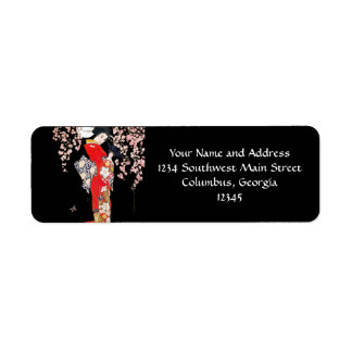 Asian Woman with Cherry Blossom Night Return Address Label