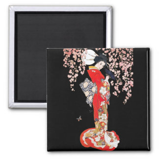 Asian Woman with Cherry Blossom Night Square Magnet