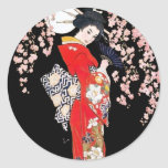 Asian Woman with Cherry Blossom Night Round Sticker