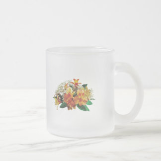 Asiatic Lilies and Stephanotis Frosted Glass Coffee Mug