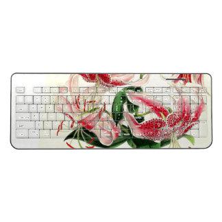 Asiatic Lilies Flowers Vintage Wireless Keyboard