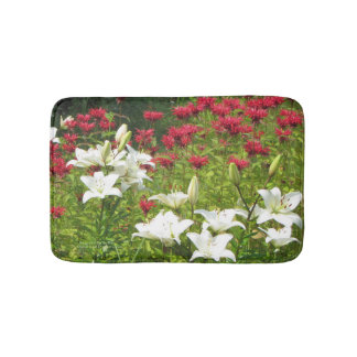 Asiatic Lilies Red Bee Balm bath mat