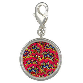 Asiatic red vibrant floral pattern