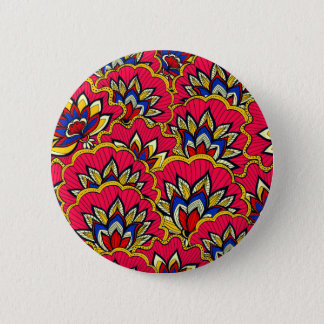 Asiatic red vibrant floral pattern 6 cm round badge