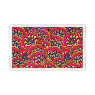 Asiatic red vibrant floral pattern acrylic tray