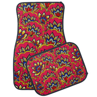 Asiatic red vibrant floral pattern car mat