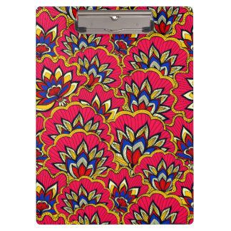 Asiatic red vibrant floral pattern clipboard