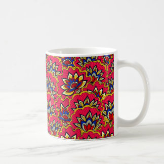 Asiatic red vibrant floral pattern coffee mug
