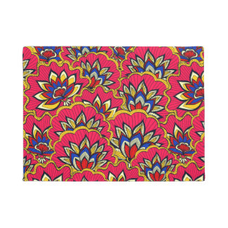 Asiatic red vibrant floral pattern doormat