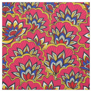 Asiatic red vibrant floral pattern fabric